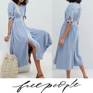 Free People Love Of My Life Midi Dress Blue Large